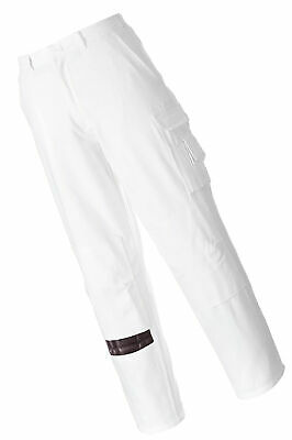 Portwest S817WHRS Painters Trouser, Regular, Size: Small, White