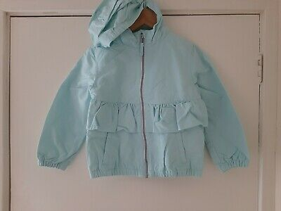Girls Next Showerproof Coat Jacket Age 4-5y Frill Hood Floral Lining Bnwt Spring