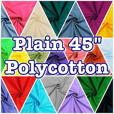 "PolyCotton Poplin Plain Solid 45"" Dressmaking Craft Fabric Scrubs 40+ Colours"