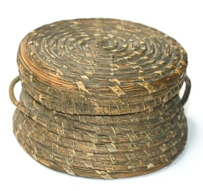 Sweet Grass Basket Round Handled w/Lid Early American Appalachian Hand Made Vtg