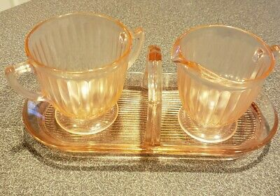 Vintage Pink Depression Glass Creamer and Sugar Bowl With Caddy