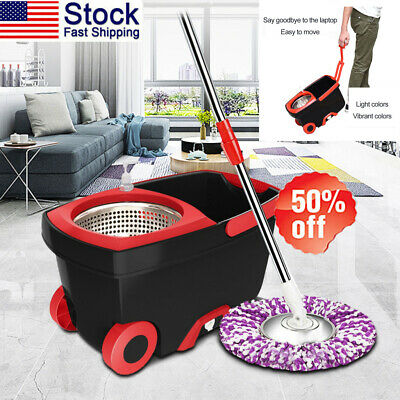 360° Rotating EasyWring Microfiber Spin Mop &Bucket Set Floor Cleaning System US