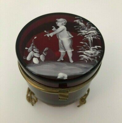Antique 19thC Victorian Mary Gregory Cranberry Glass Hinged & Footed Trinket Box