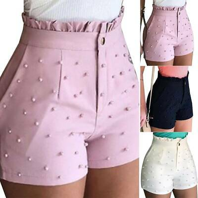 Women's Paperbag High Waist Shorts Summer Skinny Jeans Casual Mini Hot Pants New