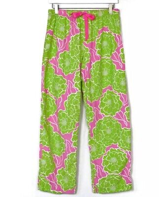 Lilly Pulitzer Women's Pink And Green Floral Print Corduroy Pajama Pants Size S