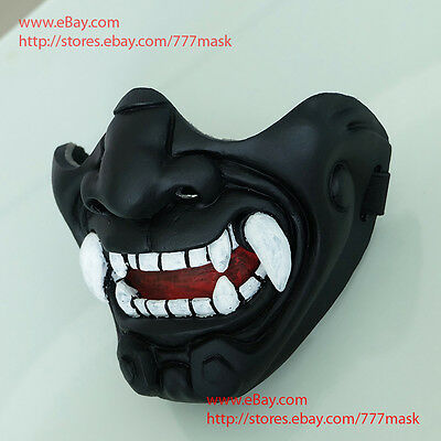 Airsoft Mask Half Face Tactical Paintball BB Gun Demon Oni Costume Cosplay MA233