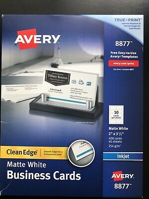 """Avery 8877 White Clean Edge Business Cards 2"""" x 3.5"""" 400 Count Free Ship"""