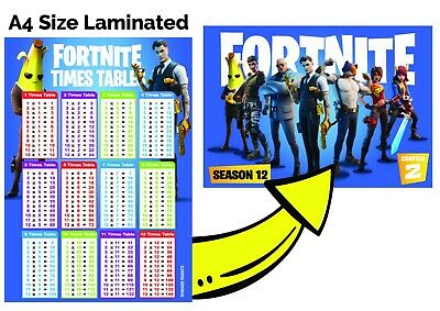 Times Tables A4 FORTNITE Poster Children Kids Education Multiplication Maths