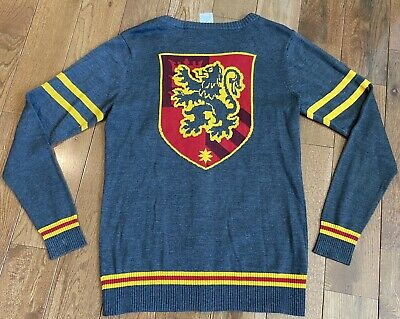 Women's Harry Potter Gryffindor Cardigan Sweater Gray Yellow Red Crest Patch M