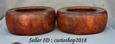 """8.8"""" Old Chinese Huanghuali Yellow Year Wood Dynasty Palace Pot Jar Crock Pair"""