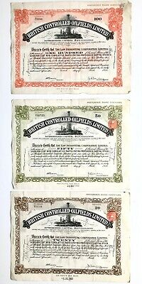 3 Share Certificates British Controlled Oilfields Canada $100 $50 $20 (1931-33)