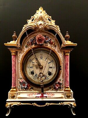 Hand-Painted Early 19th Century Dresden Porcelain Mantel Clock by BUCHERER
