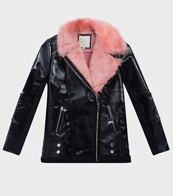 Girls River Island Leather Biker Jacket Coat Black Pink Fur Age 7 8 9 10 11 12
