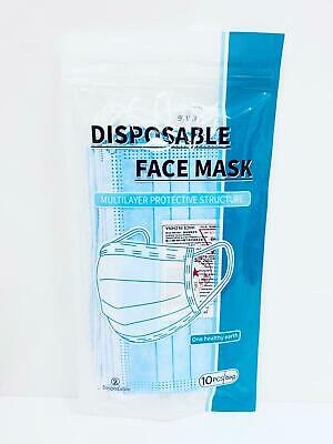 10 x Face Mask Surgical Disposable Mouth Guard Cover Face Masks Respiration U.K.