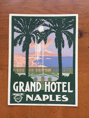 Hotel Luggage Label | Grand Hotel Naples Italy Richter Small Version | VERY FINE