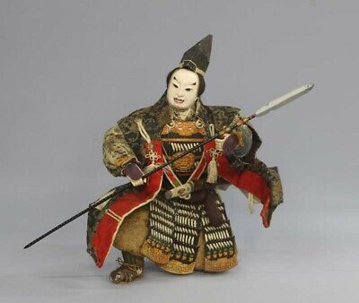 Japanese Antique Armed Samurai Warrior Holding a Spear Doll Kato Kiyomasa Meiji