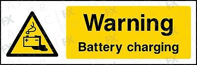 GFXWARN041 Caution Battery Charging Landscape Sign Signage Vinyl Poster