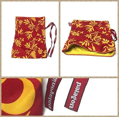 """Patagonia Red & Yellow Floral Camping Hiking Tie Top Carry Pouch Size 10x14"""""""