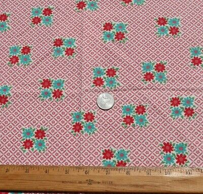 "Red & Turquoise Floral Feedsack Fabric~L-14"" X W-17"""