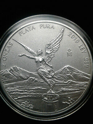 2019 2 oz .999 Fine Silver Mexican Libertad Antiqued BU coin only 1,000 minted!!