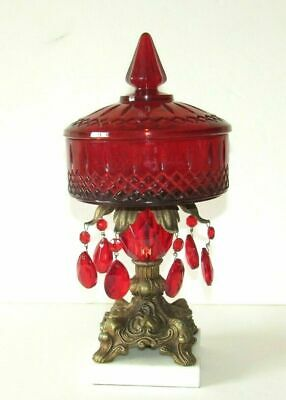 Glass Candy Dish Bowl w/ Red Prisms Ornate Pedestal Marble Base Italy Vintage