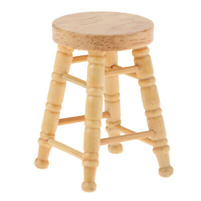 Dolls House Round Pub Bar Stool Wooden Floral Chair Furniture 1//12th Scale