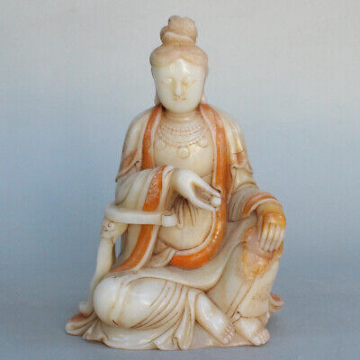 Chinese Exquisite Hand carved Guanyin carving Shoushan Stone statue