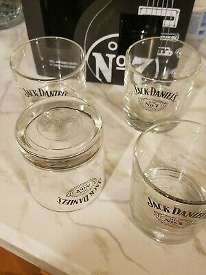 Set of 4 New Round Jack Daniels Old No.7 Whiskey Glasses. Embossed Sipping Glass