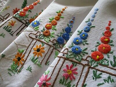 Vintage Hand Embroidered Linen Tablecloth-EXCEPTIONAL FLORAL NEEDLE WORK