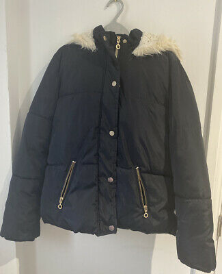 Girl's F&F Navy Blue Padded Coat Furry Lined Age 11 Hooded Zip Up (D3)
