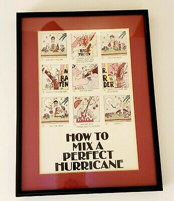 Vintage How To Mix Hurricane New Orleans Style Framed Drinks Bar Animated MCM