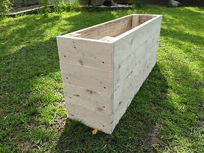 SINGLE Wooden Vegetable Flower Herb Trough Raised Bed Planters Timber Planters