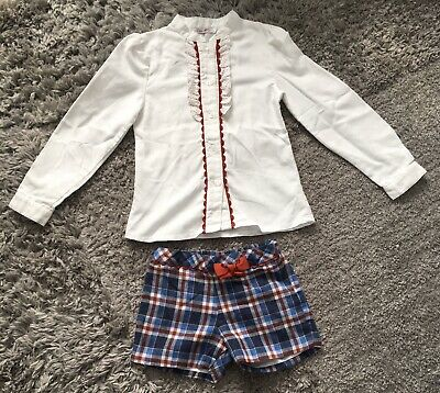 Girls Spanish 2 Piece Long Sleeve Shirt And Shorts 6 Years