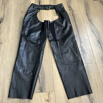 Harley Davidson Womens Medium Black Leather Chaps Belted Side Zips Snaps