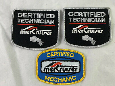 3 Vintage Boat  Motor Patches For MerCruiser Certified mechanic