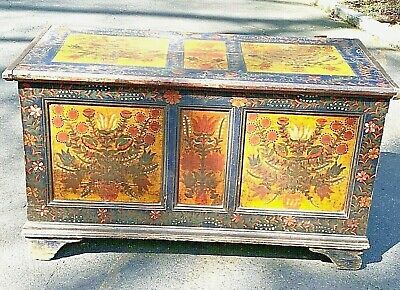 Antique 1830 FOLK~Primitive Pennsylvania Dutch Hand Painted Dower Blanket Chest