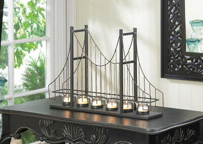 "GOLDEN GATE CANDLE HOLDER - 19 1/2"" x 13"" HIGH - METAL & GLASS - BLACK"