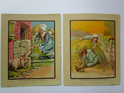 Vtg Children's Book Pages Illustrations Only, Nursery Rhyme Prints Wall Decor