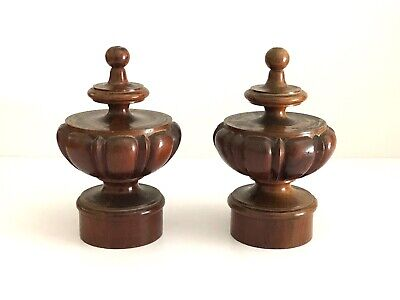 ONE PAIR OF ANTIQUE 19th CENTURY SOLID MAHOGANY WOODEN FINIALS