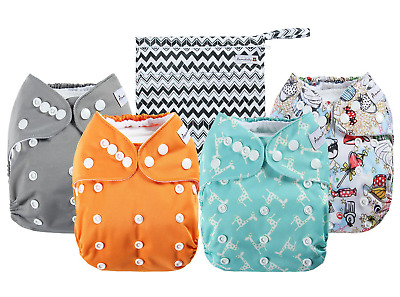 4 Pack Adjustable Size Waterproof Washable Pocket Cloth Diapers With 4 Inserts A