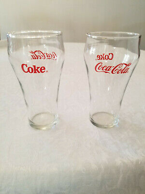 Vintage 1970's Coke Coca Cola Bell Shaped Glasses Set of 2 with Red Lettering