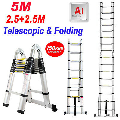 2.5M+2.5M Aluminum Telescopic Ladder W/ Joint Multifunctional articulated Ladder
