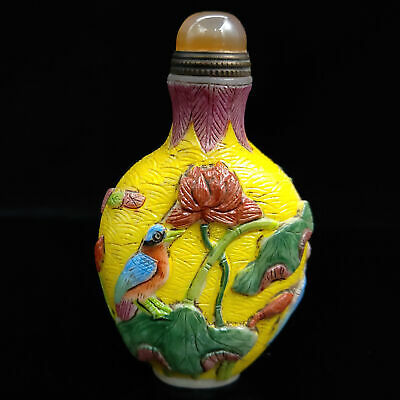 Chinese Antique Hand carved Glass Painted Flowers and birds pattern Snuff bottle