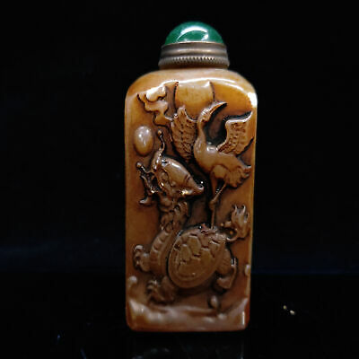 Chinese Antique Hand carved Shoushan Stone Snuff bottle   LL-071