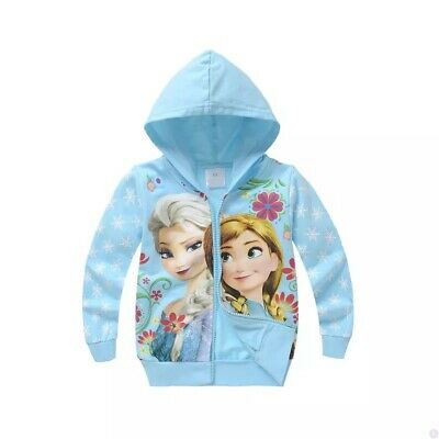 New Frozen Elsa and Anna girls hooded  top thin cotton  jacket size 3-7yrs