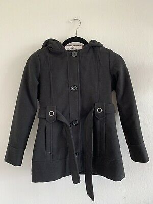KC Collections Girls Kids Hooded Wool Coat Size 10 Black