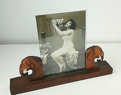 Art Deco Oak Photograph Frame with Elephant Supports, 1930's Period Home Decor.