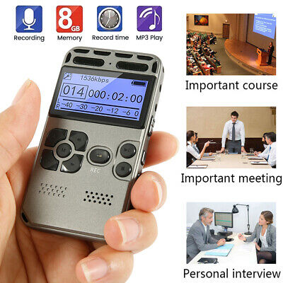 Rechargeable 64GB Digital Audio Sound Voice Recorder LCD MP3 Player Dictaphone⭐