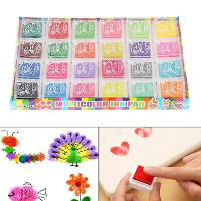 Set of 24 Colors Inkpads for Rubber Stamps Craft Ink Pad Paper Wood Fabric