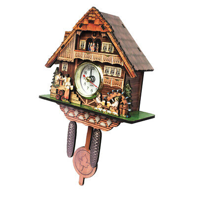 Wall Clock Antique Wooden Cuckoo Bird Time Bell Swing Alarm for Home Decors